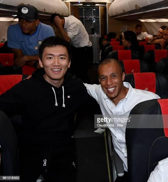 Internazionale Milano board member Steven Zhang Kangyang and Joao Miranda de Souza Filho of FC Internazionale celebrate on the plane after the serie...
