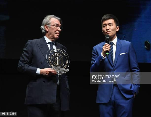 Internazionale Milano board member Steven Zhang Kangyang and Massimo Moratti attend FC Internazionale 110 Years Anniversary at Hangar Pirelli on...