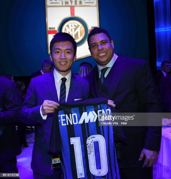 Internazionale Milano board member Steven Zhang Kangyang and Ronaldo attend FC Internazionale 110 Years Anniversary at Hangar Pirelli on March 9 2018...