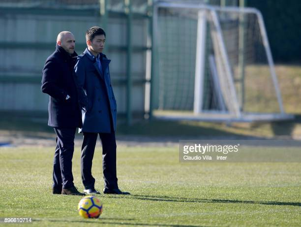 Internazionale Milano board member Steven Zhang Kangyang and Sportif Director of FC Internazionale Milano Piero Ausilio look on during the FC...