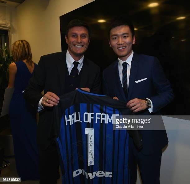 Internazionale Milano board member Steven Zhang Kangyang and Vice President FC Internazionale Javier Zanetti attend FC Internazionale 110 Years...