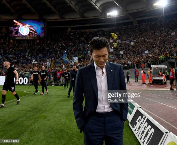 Internazionale Milano board member Steven Zhang Kangyang becomes emotional at the end of the Serie A match between SS Lazio and FC Internazionale at...