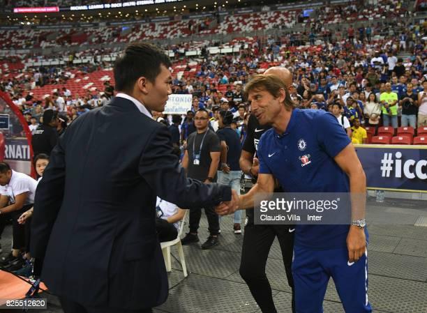 FC Internazionale Milano board member Steven Zhang Kangyang Head coach FC Internazionale Luciano Spalletti and Head coach Chelsea Antonio Conte chat...