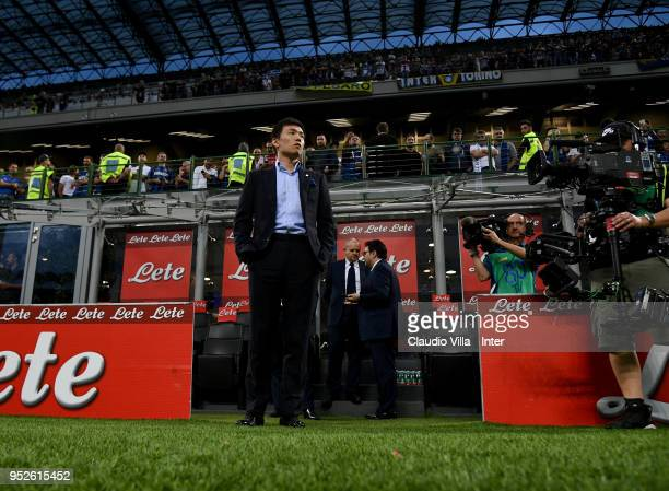 Internazionale Milano board member Steven Zhang Kangyang looks on prior to the serie A match between FC Internazionale and Juventus at Stadio...