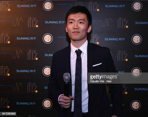 Internazionale Milano board member Steven Zhang Kangyang speaks during the unveiling of FC Internazionale 'Innovative Passion' Concept At Milan...