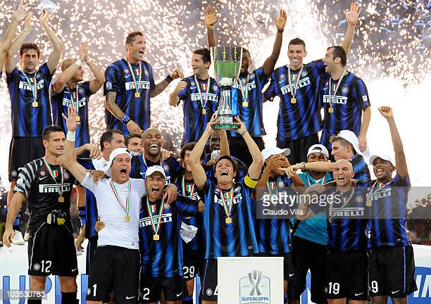 Internazionale Milano celebrates the Supercoppa Italiana after the match between Inter and Roma at Giuseppe Meazza Stadium on August 21 2010 in Milan...