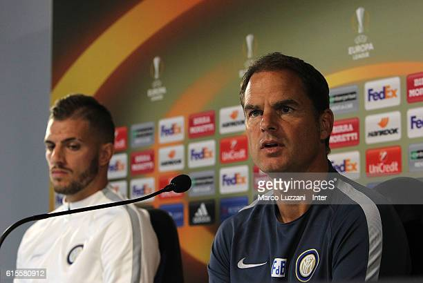 Internazionale Milano coach Frank de Boer and Davide Santon of FC Internazionale Milano speak to the media during a press conference on the eve of...
