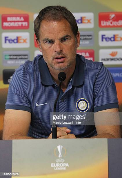 Internazionale Milano coach Frank de Boer speaks to the media during a press conference on the eve of their UEFA Europa League Group stage match...