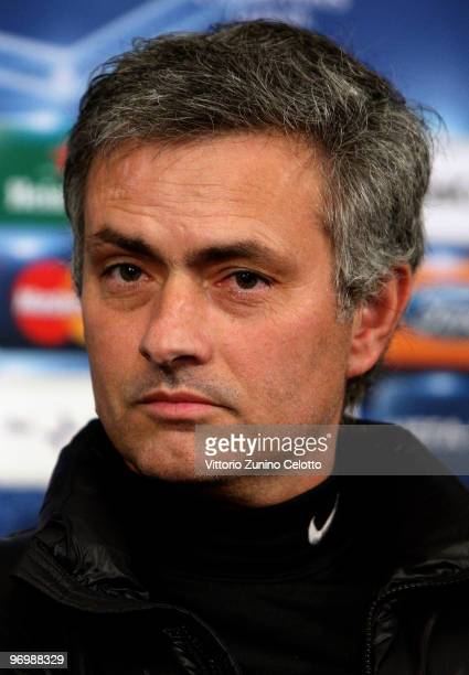 Internazionale Milano coach Jose Mourinho attends a press conference on the eve of the UEFA Champions League football match FC Internazionale Milano...