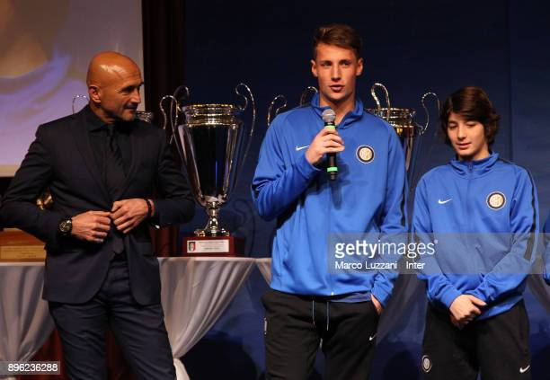 FC Internazionale Milano coach Luciano Spalletti and Andrea Pinamonti attend FC Internazionale Youth Teams Christmas Party on December 20 2017 in...