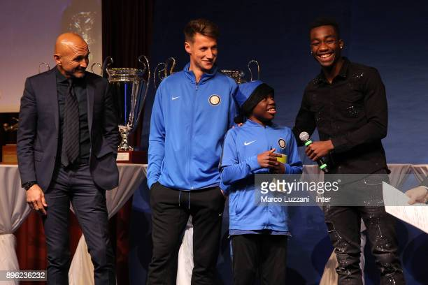 FC Internazionale Milano coach Luciano Spalletti Andrea Pinamonti and Yann Karamoh of FC Internazionale attend FC Internazionale Youth Teams...