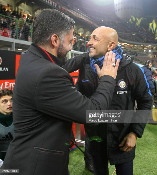 Internazionale Milano coach Luciano Spalletti shakes hands with AC Milan coach Gennaro Gattuso during the TIM Cup match between AC Milan and FC...