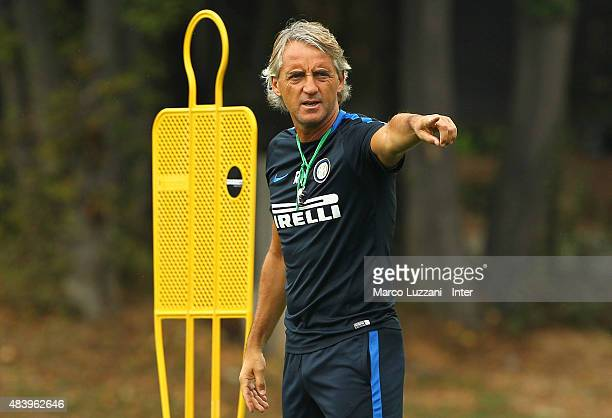 Internazionale Milano coach Roberto Mancini gestures during FC Internazionale training session at the club's training ground on August 14 2015 in...