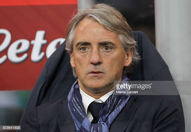 Internazionale Milano coach Roberto Mancini looks on before the Serie A match between FC Internazionale Milano and Udinese Calcio at Stadio Giuseppe...