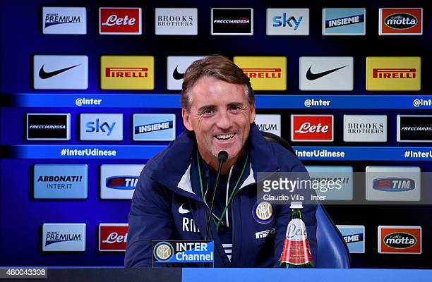 Internazionale Milano coach Roberto Mancini speaks to the media during a press conference at Appiano Gentile on December 06 2014 in Como Italy