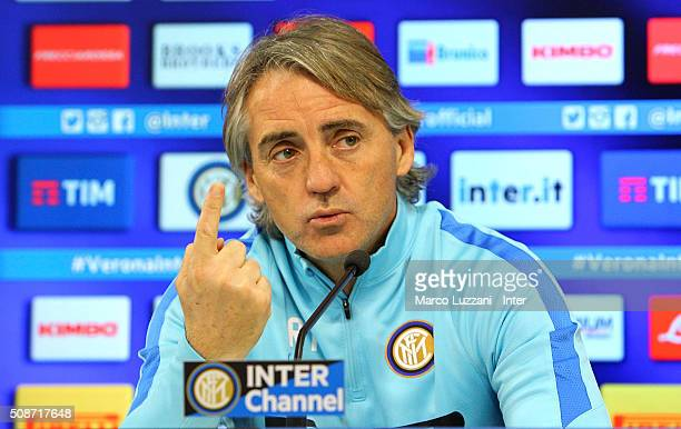 Internazionale Milano coach Roberto Mancini speaks to the media during a press conference at Appiano Gentile on February 6 2016 in Como Italy