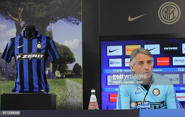 Internazionale Milano coach Roberto Mancini speaks to the media during a press conference at the club's training ground on April 15 2016 in Como Italy