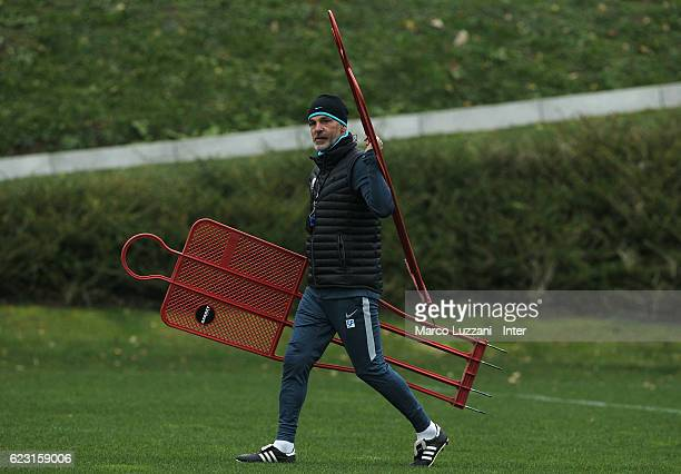 Internazionale Milano coach Stefano Pioli looks on during the FC Internazionale training session at the club's training ground 'La Pinetina' on...