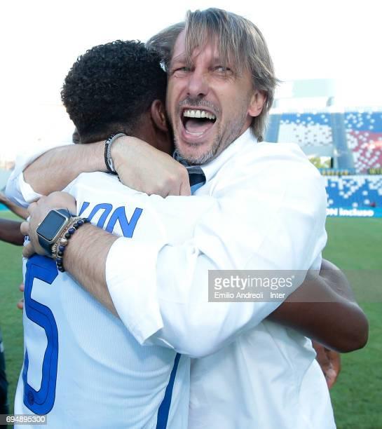 FC Internazionale Milano coach Stefano Vecchi celebrates the championship victory with Andrew Rayan Gravillon at the end of the the Primavera TIM...
