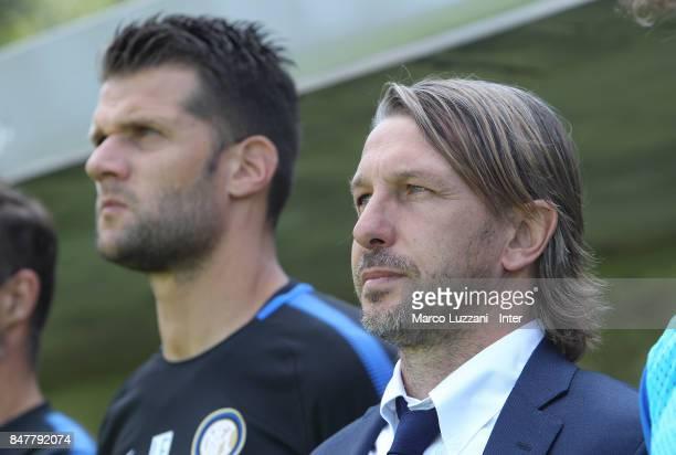 Internazionale Milano coach Stefano Vecchi looks on before the Serie A Primavera match between AC Milan U19 and FC Internazionale U19 on September 16...