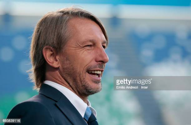 FC Internazionale Milano coach Stefano Vecchi smiles before the Primavera TIM Playoffs match between FC Internazionale and AS Roma on June 8 2017 in...