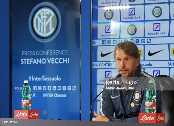 Internazionale Milano coach Stefano Vecchi speaks to the media during a press conference at the Suning training center in memory of Angelo Moratti on...