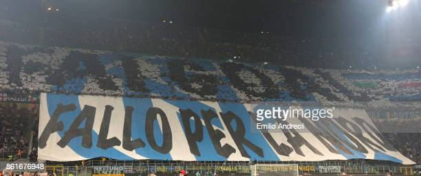 Internazionale Milano fans display a giant banner prior to the Serie A match between FC Internazionale and AC Milan at Stadio Giuseppe Meazza on...