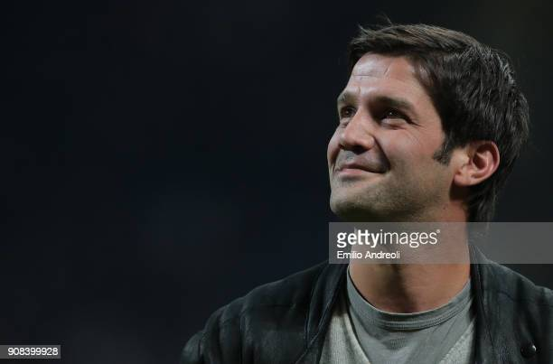 Internazionale Milano former player Cristian Chivu looks on prior to the Serie A match between FC Internazionale and AS Roma at Stadio Giuseppe...