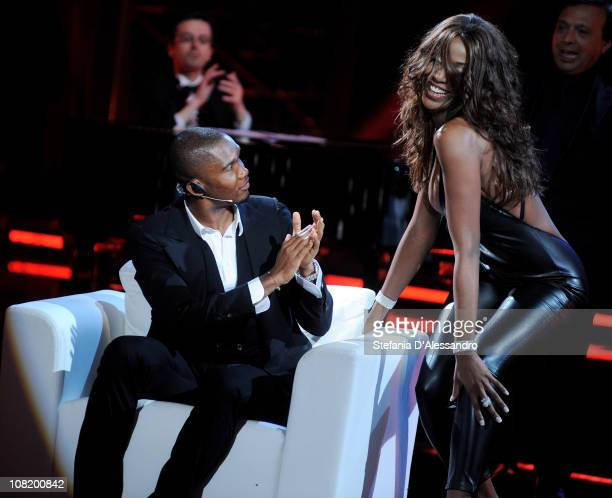 Internazionale Milano forward Samuel Eto'o and Ainett Stephens attend 'Chiambretti Night' Italian Tv Show held at Mediaset Studios on January 20 2011...
