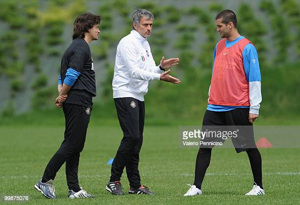 Internazionale Milano head coach Jose Mourinho and Cristian Chivu attend an FC Internazionale Milano training session during a media open day on May...