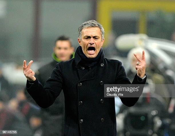 Internazionale Milano Head Coach Jose Mourinho celebrates during the Serie A match between Inter Milan and AC Milan at Stadio Giuseppe Meazza on...