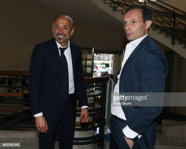 Internazionale Milano head coach Luciano Spalletti and Juventus FC head coach Massimiliano Allegri attend the FIGC meeting at Italian olympic...
