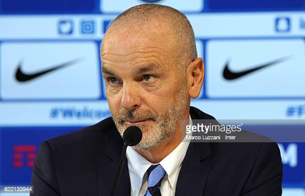 Internazionale Milano new coach Stefano Pioli speaks to the media during a press conference at the club's training ground 'La Pinetina' on November...