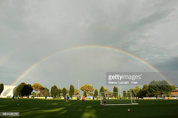 Internazionale Milano players train under the rainbow during FC Internazionale training session at the club's training ground on August 18 2015 in...