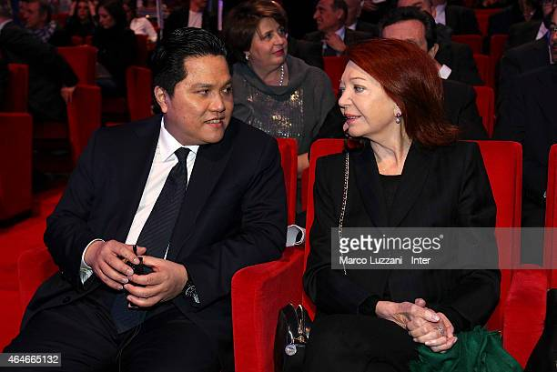 Internazionale Milano president Erick Thohir and Bedy Moratti attend the preview screening of 'Zanetti Story' on February 27 2015 in Milan Italy