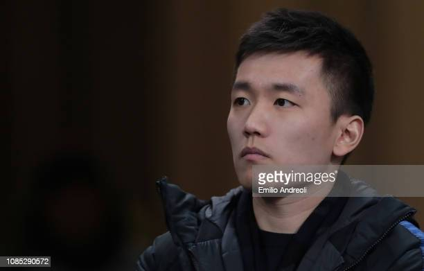 Internazionale Milano president Steven Zhang looks on during the Serie A match between FC Internazionale and US Sassuolo at Stadio Giuseppe Meazza on...