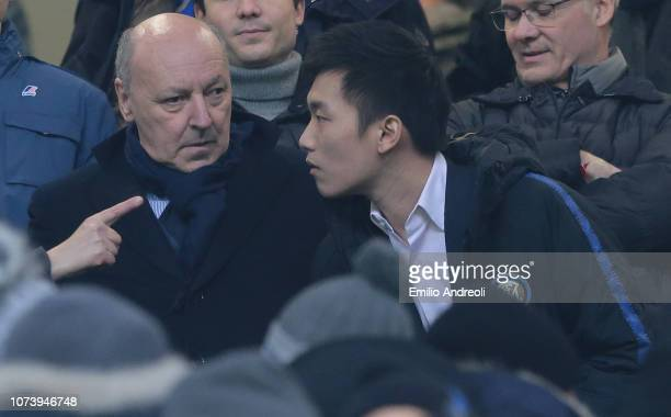 Internazionale Milano president Steven Zhang speaks with new CEO of FC Internazionale Giuseppe Marotta prior to the Serie A match between FC...