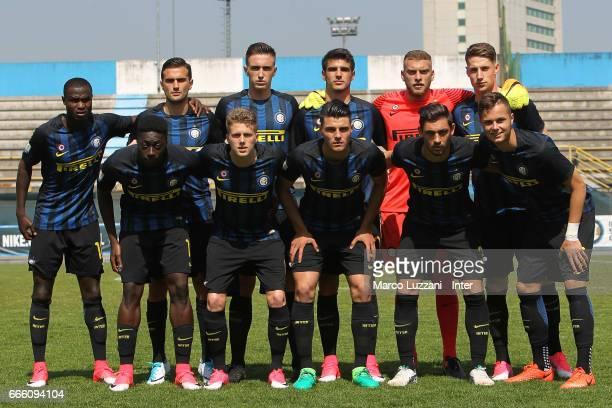 Internazionale Milano team line up before the Primavera Tim juvenile match between FC Internazionale and Atalanta BC at Stadio Breda on April 8 2017...