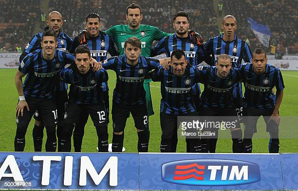 Internazionale Milano team line up before the Serie A match between FC Internazionale Milano and Genoa CFC at Stadio Giuseppe Meazza on December 5...