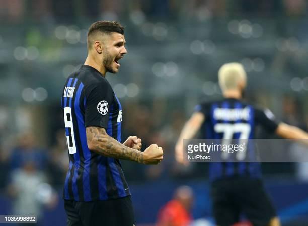 FC Internazionale Milano v Tottenham Hotspur FC UEFA Champions League Group B Mauro Icardi of FC Internazionale celebrates at San Siro Stadium in...