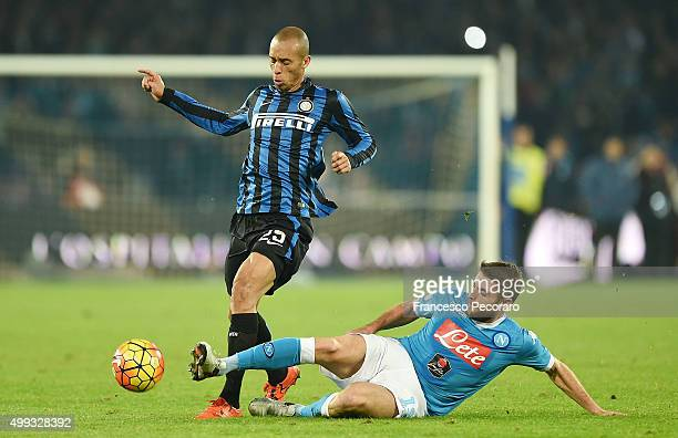Internazionale Milano's player Miranda vies with SSC Napoli player Diego Lopez during the Serie A match between SSC Napoli and FC Internazionale...
