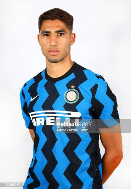 Internazionale new signing Achraf Hakimi poses for a photo shoot on July 02, 2020 in Milan, Italy.
