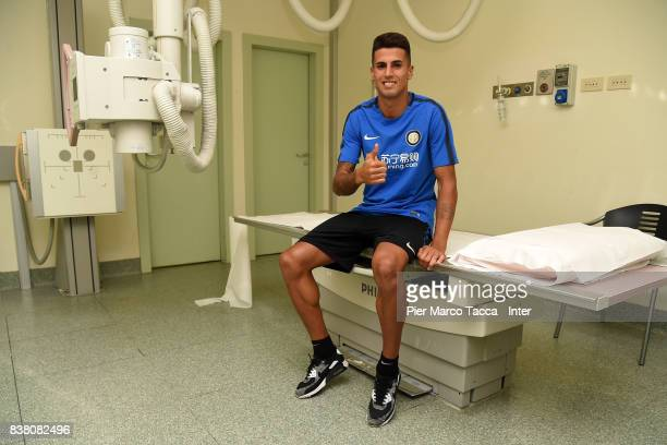 Internazionale New Signing Joao Cancelo attends Medical Tests on August 21 2017 in Milan Italy