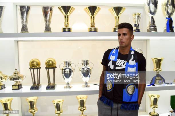 Internazionale New Signing Joao Cancelo poses on August 21 2017 in Milan Italy