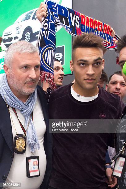 Internazionale new signing Lautaro Martinez arrives at Malpensa airport on May 24 2018 in Milan Italy