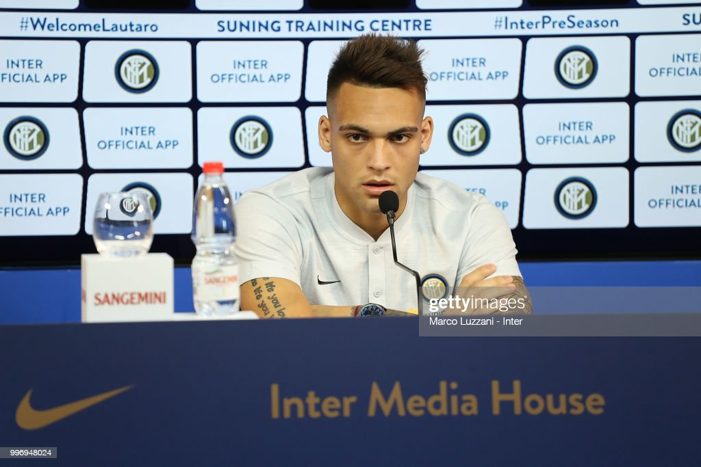 FC Internazionale new signing Lautaro Martinez speaks during a press conference at the club's training ground Suning Training Center in memory of Angelo Moratti on July 12, 2018 in Como, Italy.
