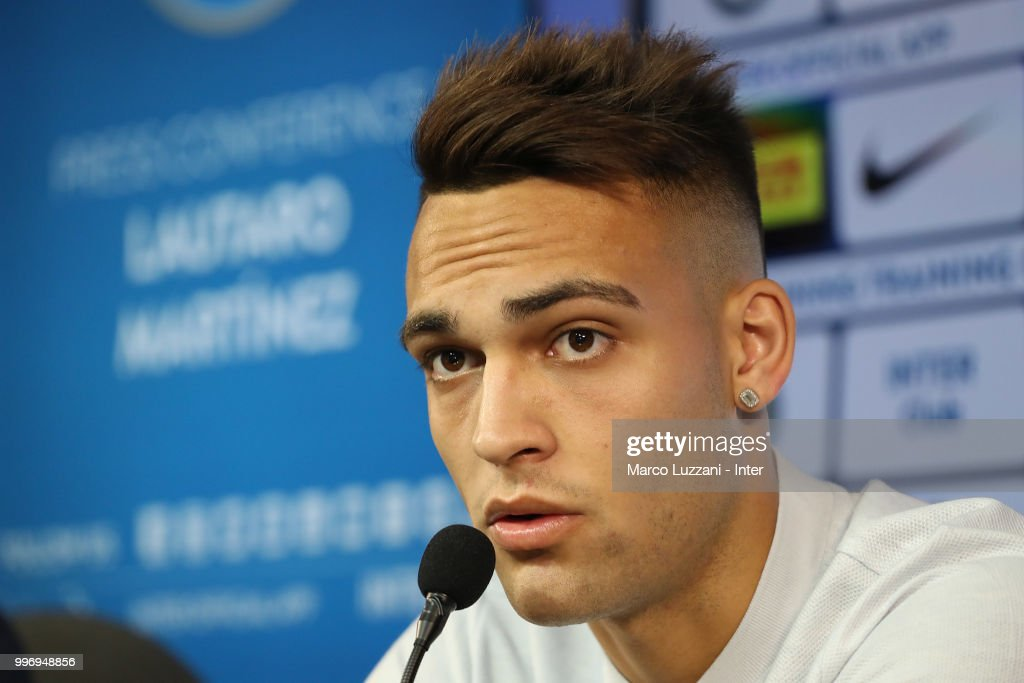 FC Internazionale new signing Lautaro Martinez speaks to the media during a press conference at the club's training ground Suning Training Center in memory of Angelo Moratti on July 12, 2018 in Como, Italy.