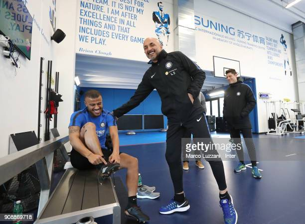 Internazionale new signing Rafinha and FC Internazionale Milano coach Luciano Spalletti during physical tests at the club's training ground Suning...