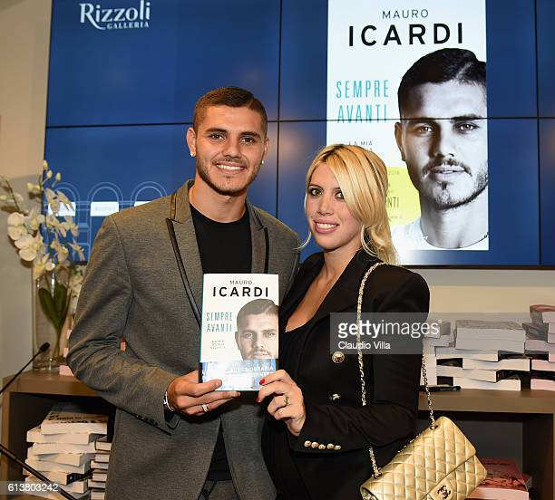 Internazionale Player Mauro Icardi and Wanda Nara Presents His Book 'Sempre Avanti' on October 10 2016 in Milan Italy