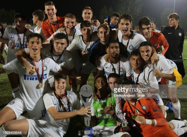 Internazionale players celebrate after winning the Mamma Cairo Trophy at the end of the the Trofeo Mamma Cairo match between FC Internazionale U19...